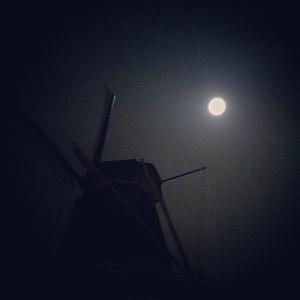 Molen de Ster bij volle maan